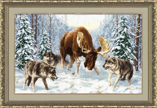 Олень и волки в зимнем лесу.