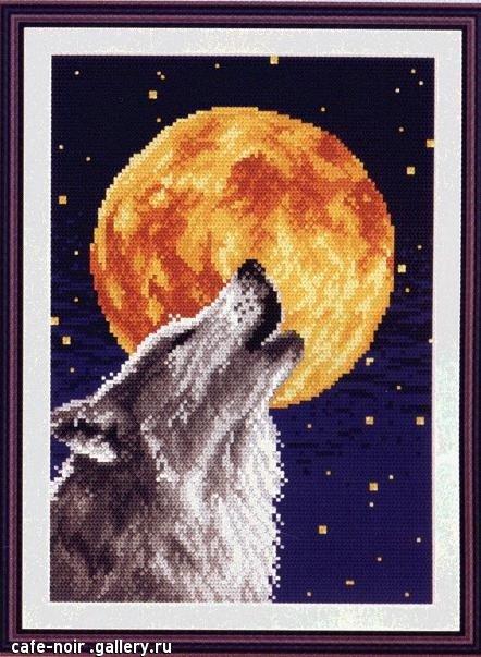 Волк и луна - Волки - Вышивка